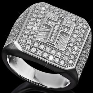 Ring Mens Cross Created Diamond Sterling Silver